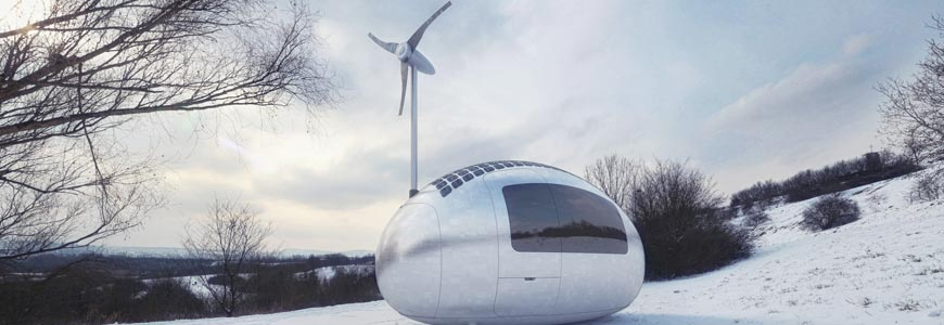 Ecocapsule in the snow